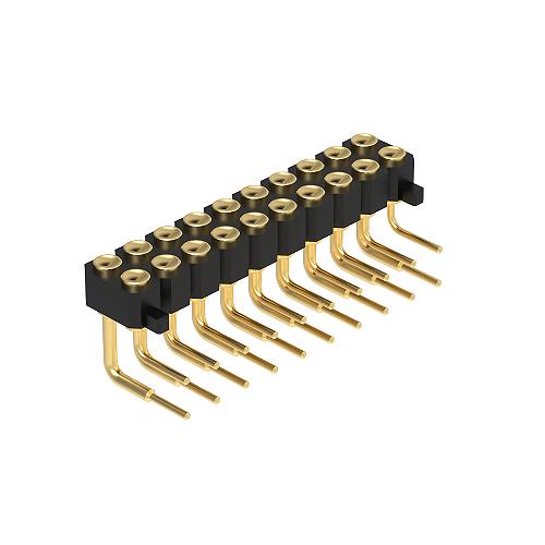 2.54H2.5雙排90度DIP凹面帯柱
