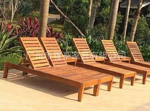 雅亭YT-392戶外實木躺椅柚木沙灘椅