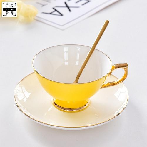 瓷亿美批发高温色釉咖啡杯骨瓷下午茶杯碟