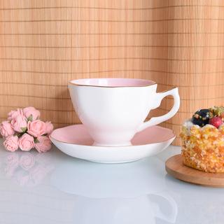 厂家批发粉色釉咖啡杯碟可定制logo